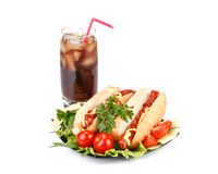 Hot dog with vegetables and cola Royalty Free Stock Image
