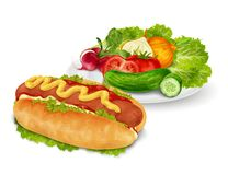 Hot dog with vegetables Royalty Free Stock Photos