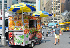 Hot dog vendor on Manhattan Street. NEW YORK–CIRCA SEPTEMBER 2015. While popular with residents and tourists, some hot dog vendors on Manhattan Streets have Stock Photos