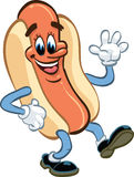 Hot dog, walking and waving Stock Images