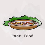 Hot dog in a watercolor style Royalty Free Stock Images