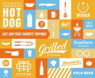 Hot Dog Wektorowa ikona i typografia set Rocznik Zdjęcie Stock