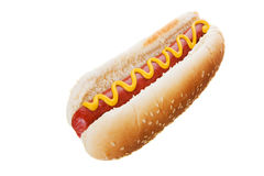 Hot dog on white Royalty Free Stock Photos