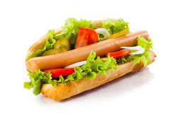 Hot dog on white background Stock Photography