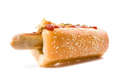 Hot dog whith onion and cucumber Stock Photos