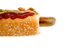 Hot dog whith onion and cucumber Royalty Free Stock Photo