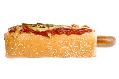 Hot dog whith onion and cucumber Royalty Free Stock Photography