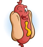 Hot Dog Winking an Eye Cartoon Character Stock Images