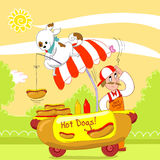 Hot dogs humorous vector. Dog fishing an hot dog from a cart in the street. Humorous vector illustration Stock Images