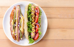 Hot dogs from above Stock Photography