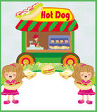 Hot dogs abstract card Stock Photo
