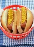 Hot-dogs avec de la moutarde Photographie stock libre de droits