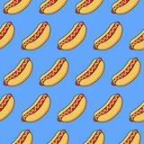Hot dogs on blue background. Vector seamless pattern of funny cartoonish hotdogs on blue background Stock Photos
