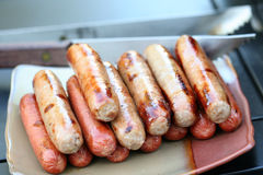 Hot dogs and brats Stock Photo