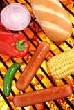 Hot dogs, bun and veggies on a barbecue grill Stock Images