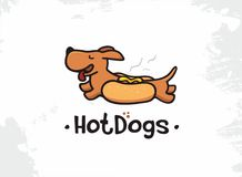 Hot-dogs de vecteur de logo professionnel moderne de signe illustration de vecteur