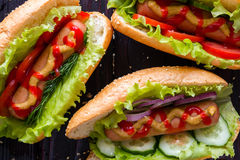 Hot dogs of different flavors close up Royalty Free Stock Photo