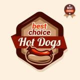 Hot dogs emblem Stock Images