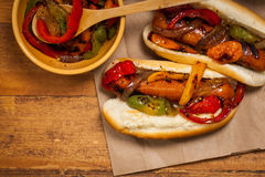 Hot Dogs Fajita Style Royalty Free Stock Photography