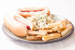 Hot dogs, fies and cole slaw Royalty Free Stock Images
