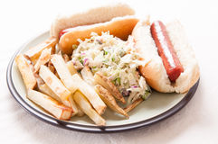 hot dogs, fies and cole slaw Royalty Free Stock Photos