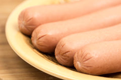 Hot dogs frankfurters served on the plate Stock Photo