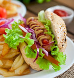 Hot Dogs with French fries on white plate Royalty Free Stock Image