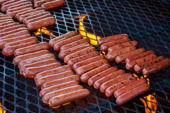 Hot Dogs On The Grill Royalty Free Stock Image