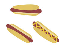 Hot dogs isolated. Hot dogs in buns isolated on a white background stock illustration