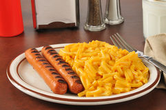 Hot dogs and macaroni and cheese Stock Photos