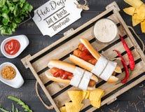 Hot Dogs Menu stock photography