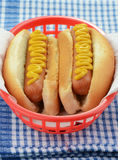 Hot dogs with mustard. In red basket Royalty Free Stock Photography