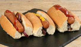 Hot dogs with mustard and ketchup Stock Image