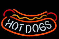 Hot Dogs Neon Red, Yellow and White Sign Royalty Free Stock Image