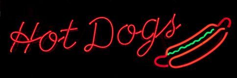Hot Dogs Neon Sign Stock Image