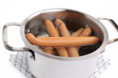 Hot dogs in pan Royalty Free Stock Photo