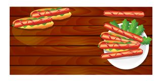 Hot dogs on a plate with sausages on the Board royalty free illustration