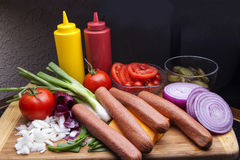 Hot Dogs ready for the grill-1 Royalty Free Stock Photos