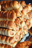 Hot dogs, sausages in dough Stock Image
