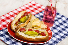 Hot Dogs and Soda Picnic Lunch Stock Image
