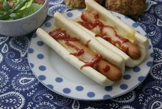 Hot dogs. Some fresh hot dogs with sausage, ketchup and cheese Royalty Free Stock Images