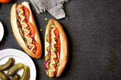 Hot dogs, top view Royalty Free Stock Photography