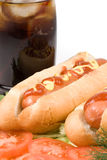 Hot dogs with vegetables Royalty Free Stock Images