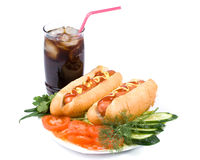Hot dogs with vegetables Royalty Free Stock Photography