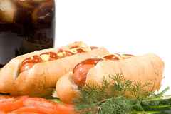Hot dogs with vegetables Royalty Free Stock Photo