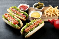 Hot dogs with vegetables stock photo