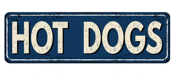 Hot dogs vintage rusty metal sign Stock Photography