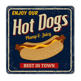 Hot dogs vintage rusty metal sign Stock Image