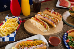 Hot dogs on wooden table with 4th july theme Stock Photography