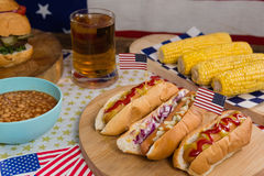 Hot dogs on wooden table with 4th july theme Stock Image